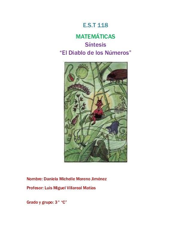 """E.S.T 118                        MATEMÁTICAS                            Síntesis                  """"El Diablo de los Número..."""