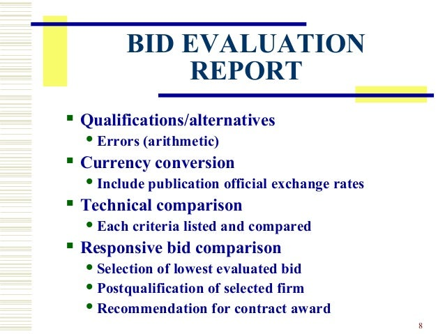 Bid Evaluation