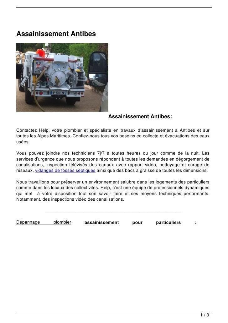 Assainissement Antibes                                            Assainissement Antibes:Contactez Help, votre plombier et...