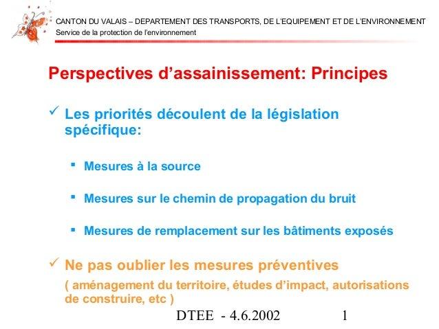 DTEE - 4.6.2002 1Service de la protection de l'environnementCANTON DU VALAIS – DEPARTEMENT DES TRANSPORTS, DE L'EQUIPEMENT...
