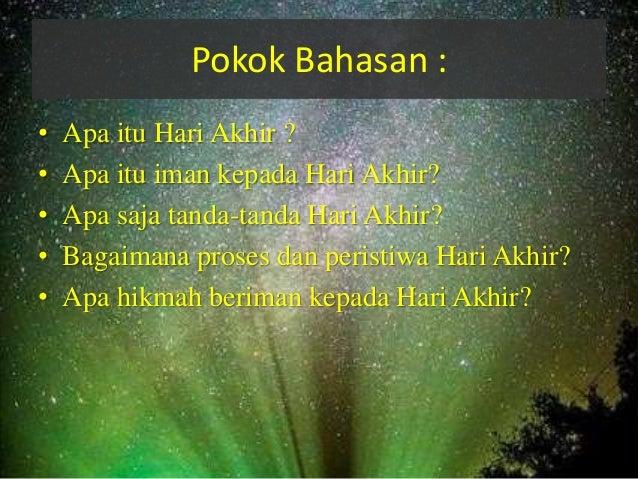 iman kepada hari akhir kiamat nama satria ramadhan nim 1201070052