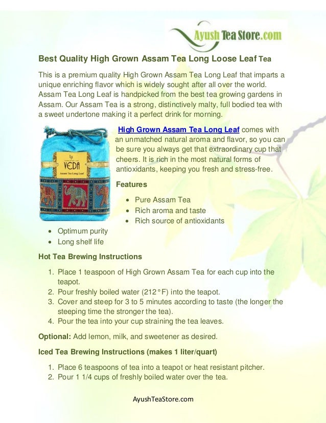 Best Quality High Grown Assam Tea Long Loose Leaf Tea This is a premium quality High Grown Assam Tea Long Leaf that impart...