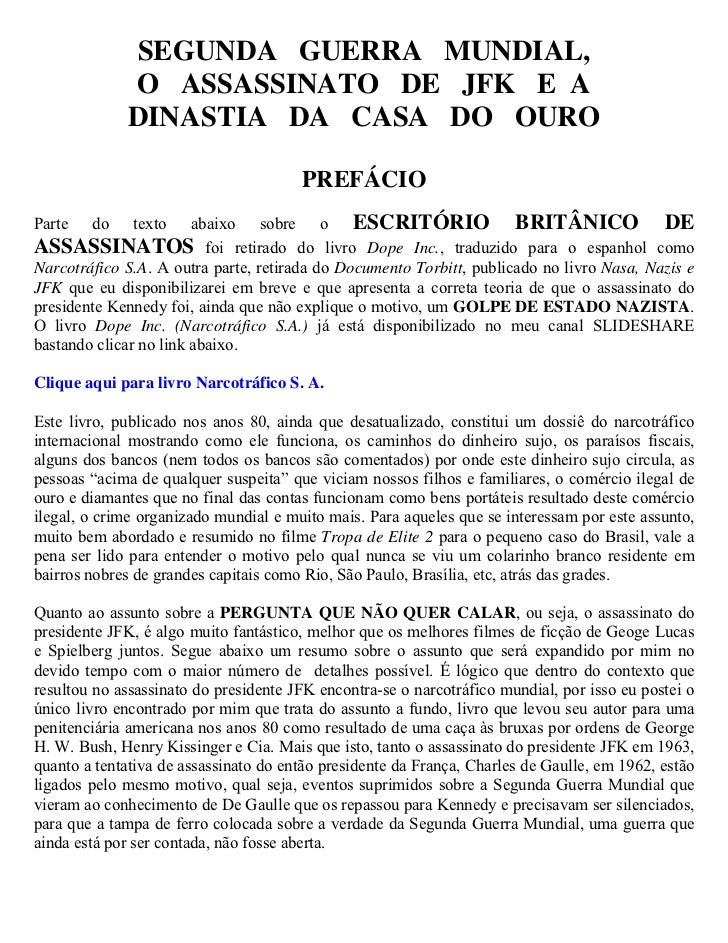 SEGUNDA GUERRA MUNDIAL,             O ASSASSINATO DE JFK E A             DINASTIA DA CASA DO OURO                         ...