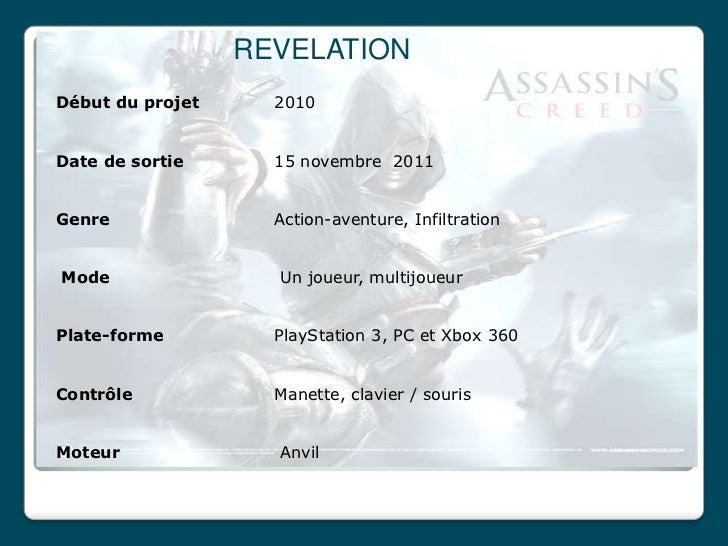 REVELATIONDébut du projet     2010Date de sortie      15 novembre 2011Genre               Action-aventure, InfiltrationMod...