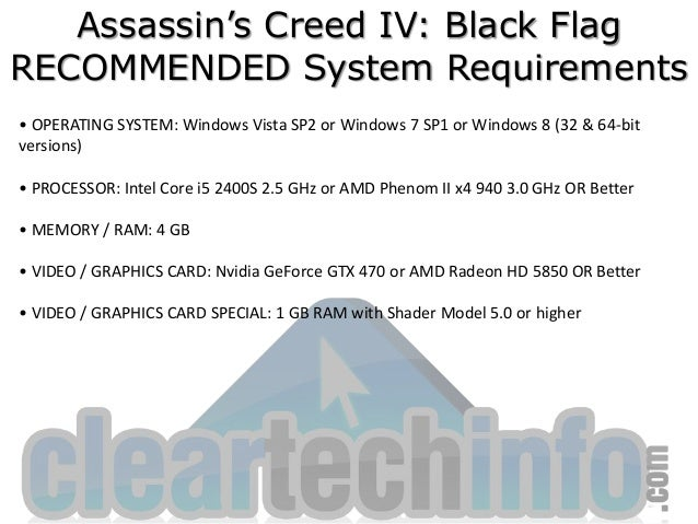 Assassin's Creed 4: Black Flag Minimum and Recommended System Require…