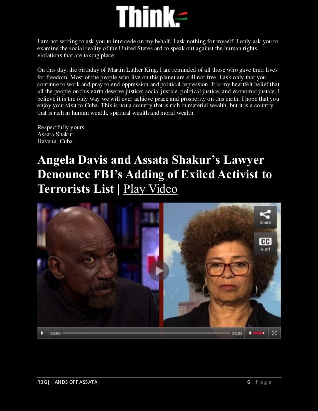 assata shakur essay Free essay: assata shakur has the most direct commentary out of all of the activists that we have discussed one can sense her urgency for the unity of black.