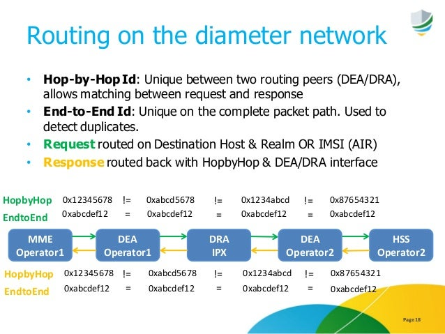 Routing on the diameter network • Hop-by-HopId: Unique between two routing peers (DEA/DRA), allows matching between reques...