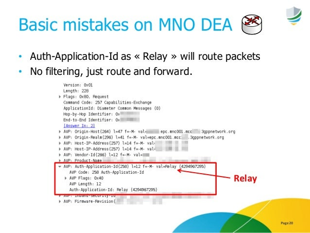 Basic mistakes on MNO DEA • Auth-Application-Id as « Relay » will route packets • No filtering, just route and forward. Pa...