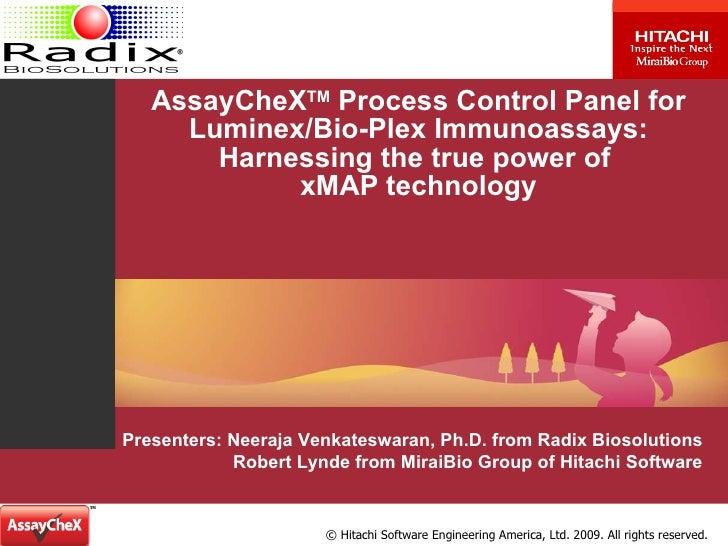 AssayCheX TM  Process Control Panel for Luminex/Bio-Plex Immunoassays: Harnessing the true power of  xMAP technology Prese...