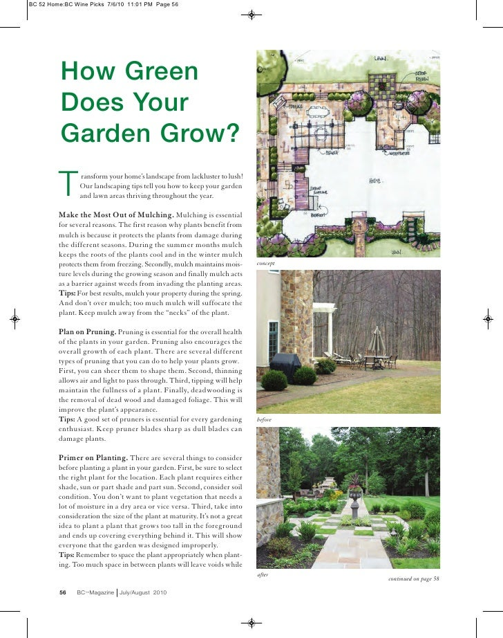 BC 52 Home:BC Wine Picks 7/6/10 11:01 PM Page 56          How Green          Does Your          Garden Grow?         T    ...