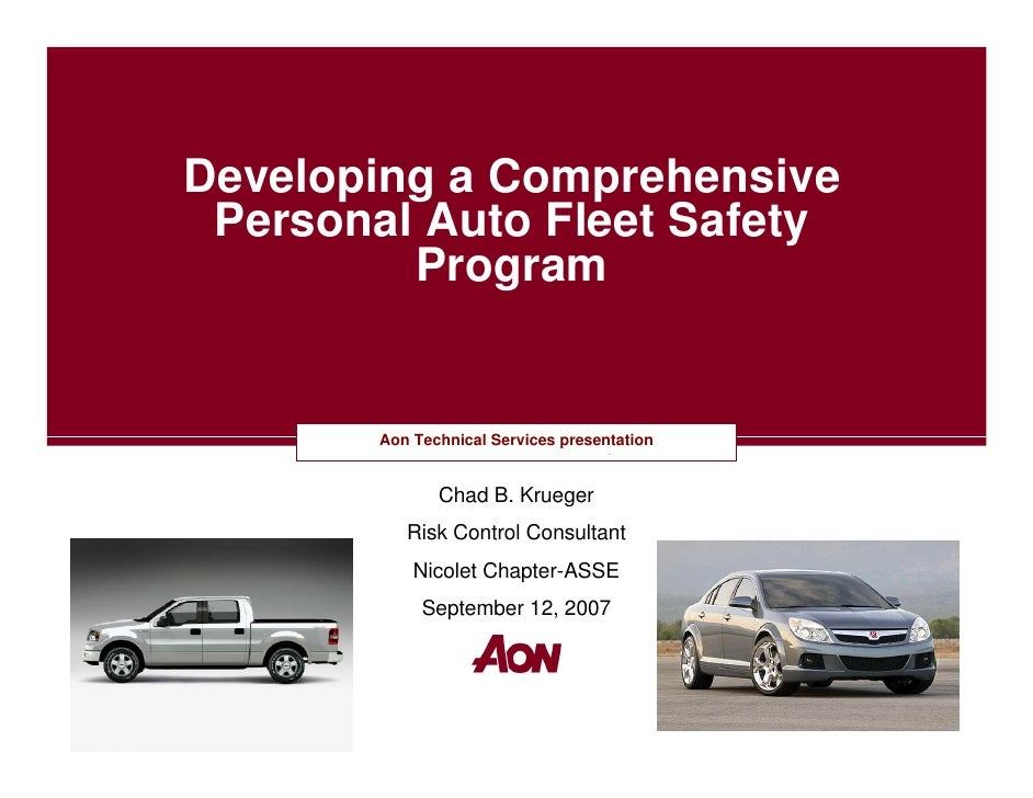 Developing a Comprehensive  Personal Auto Fleet Safety          Program           Aon Technical Services presentation     ...