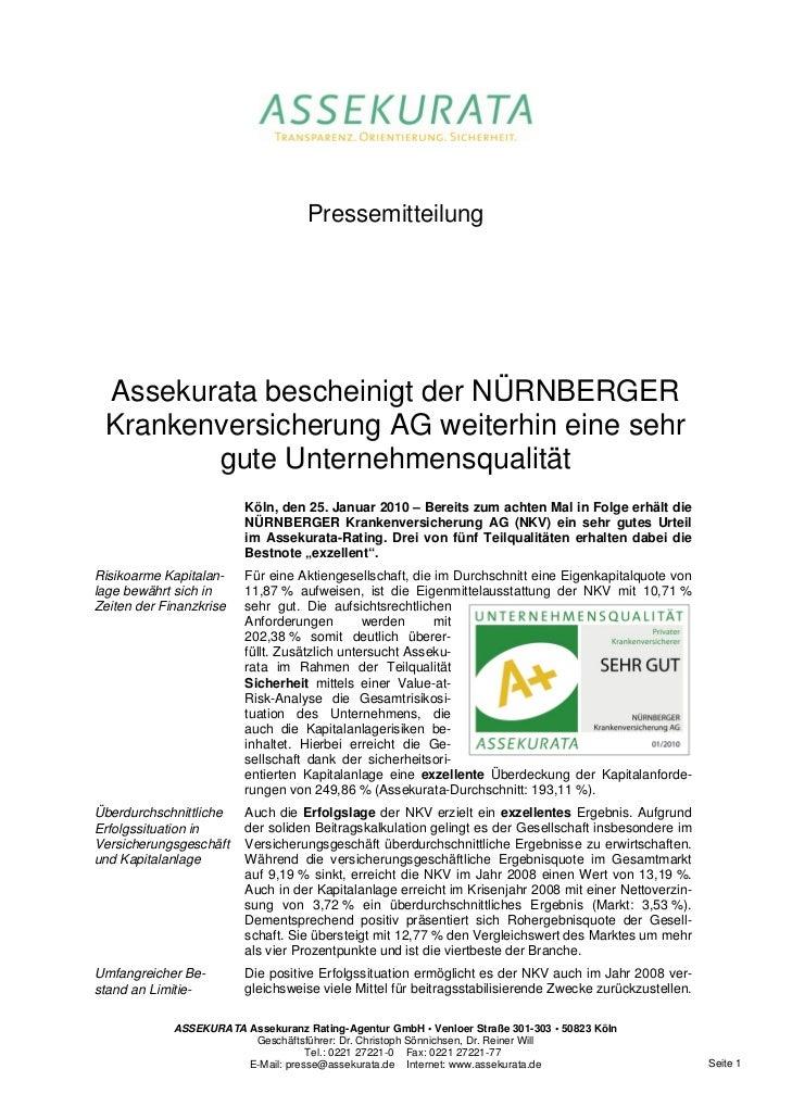 Pressemitteilung Assekurata bescheinigt der NÜRNBERGER Krankenversicherung AG weiterhin eine sehr        gute Unternehmens...