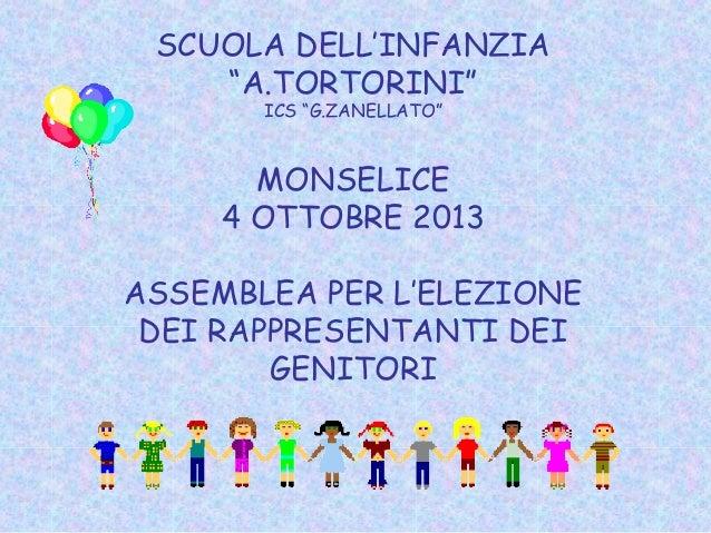"""SCUOLA DELL'INFANZIA """"A.TORTORINI"""" ICS """"G.ZANELLATO"""" MONSELICE 4 OTTOBRE 2013 ASSEMBLEA PER L'ELEZIONE DEI RAPPRESENTANTI ..."""