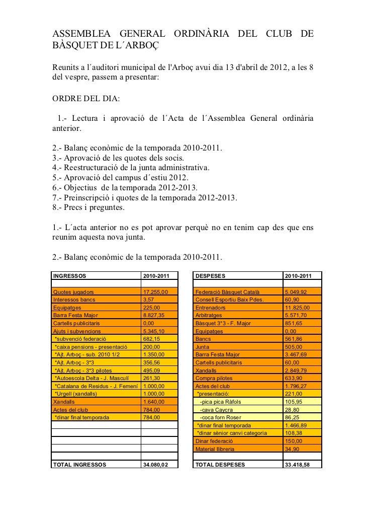 ASSEMBLEA GENERAL ORDINÀRIA DEL CLUB DEBÀSQUET DE L´ARBOÇReunits a l´auditori municipal de lArboç avui dia 13 dabril de 20...