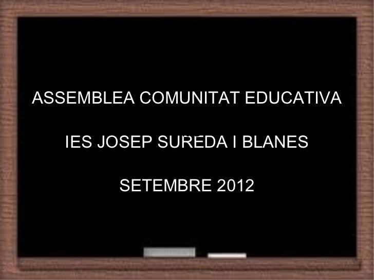 Recommendation of a StrategyASSEMBLEA COMUNITAT EDUCATIVA              Title   IES JOSEP SUREDA I BLANES        SETEMBRE 2...