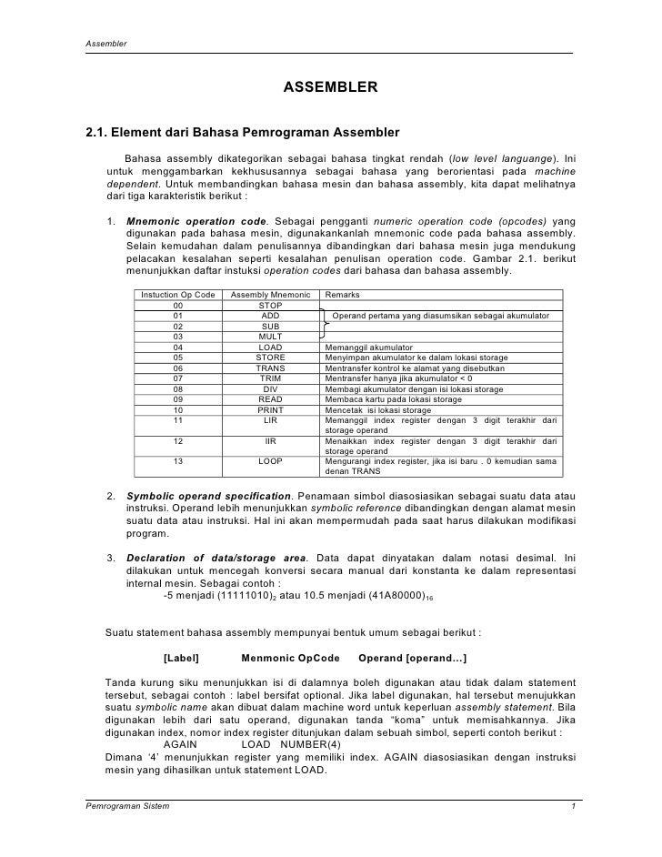 Assembler                                              ASSEMBLER2.1. Element dari Bahasa Pemrograman Assembler        Baha...