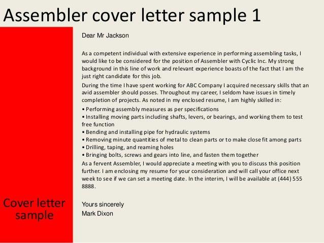 Superb Assembler Cover Letter Sample ...