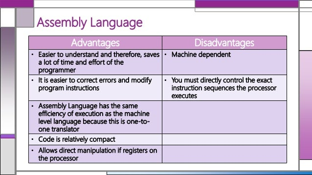Advantages And Disadvantages Of Assembler