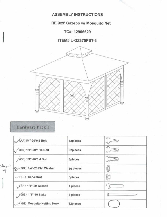 assembly instructions gazebo 9x9 with mosquito net tc12906629 item rh slideshare net Manuals for Navepoint 15U Assembly gazebo instruction manual