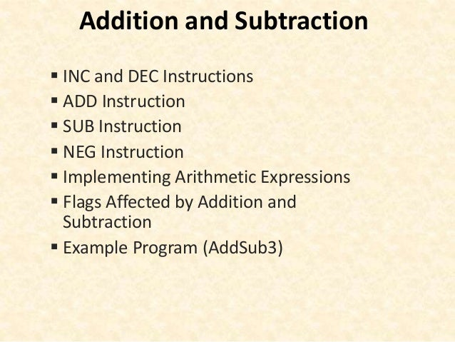 Assembly language (addition and subtraction)