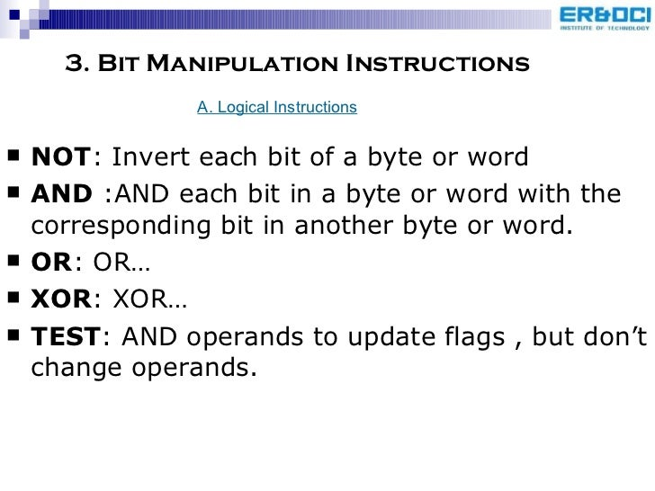 bit manipulation This week we're going to look at the topic of bit manipulation this is the process of performing logical operations on bit sequences in order to reach a desired result bit manipulation allows us to use these operators to reach certain sequences in an a clean and efficient manner, which is just one reason why.