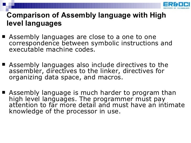 relationship between high level language assembly commands