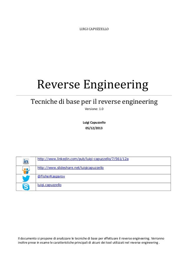 LUIGI CAPUZZELLO  Reverse Engineering Tecniche di base per il reverse engineering Versione: 1.0  Luigi Capuzzello 05/12/20...