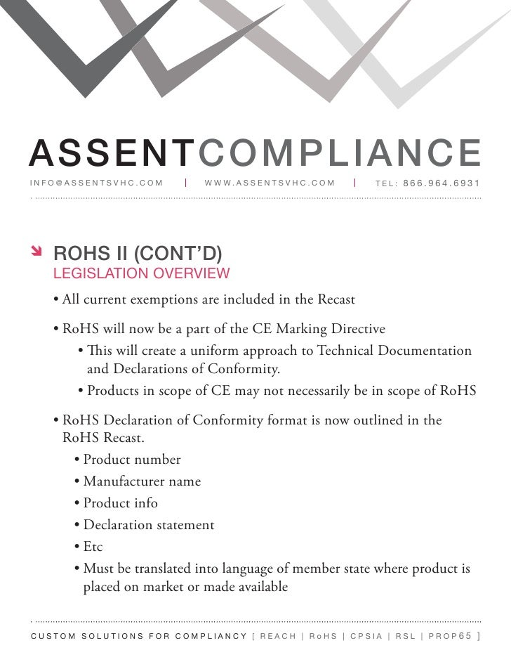 assent compliance guide for 2011 reach rohs