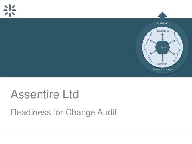 PURPOSE Leadership  Culture  Motivation © Assentire Ltd 2012, 2013,2014  Assentire Ltd Readiness for Change Audit