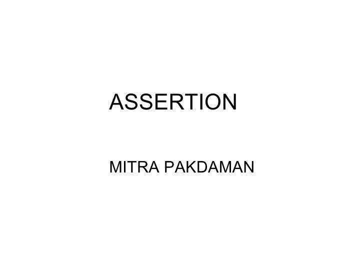 ASSERTION MITRA PAKDAMAN