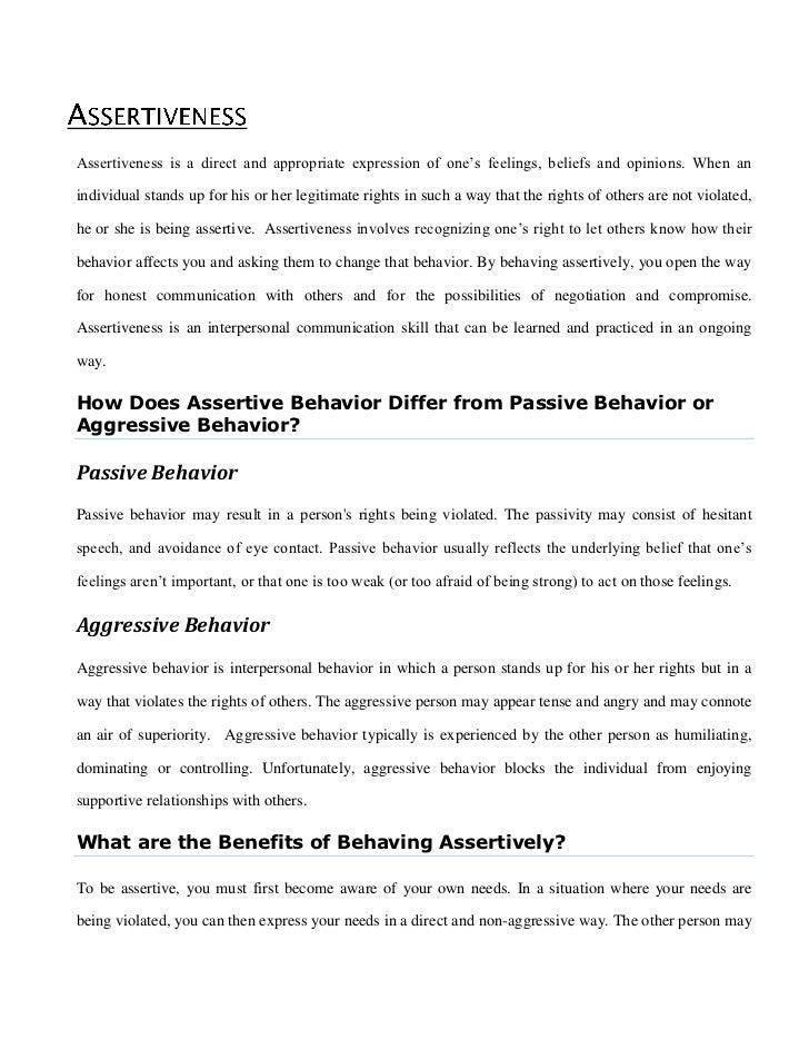Passive Behavior Aggressive Behavior Assertiveness