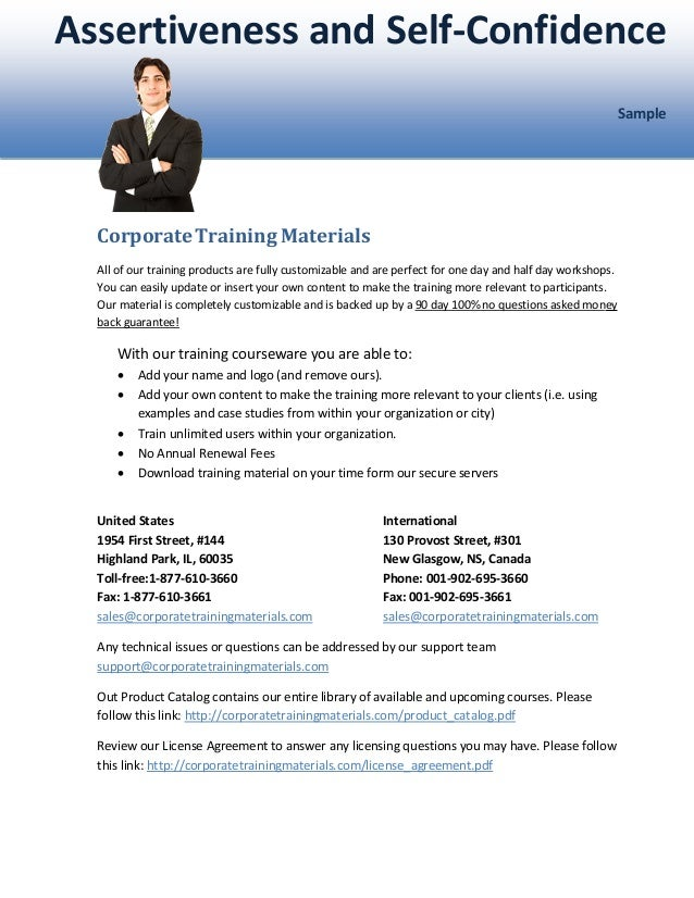 Assertiveness and selfconfidencesample – Assertiveness Training Worksheets