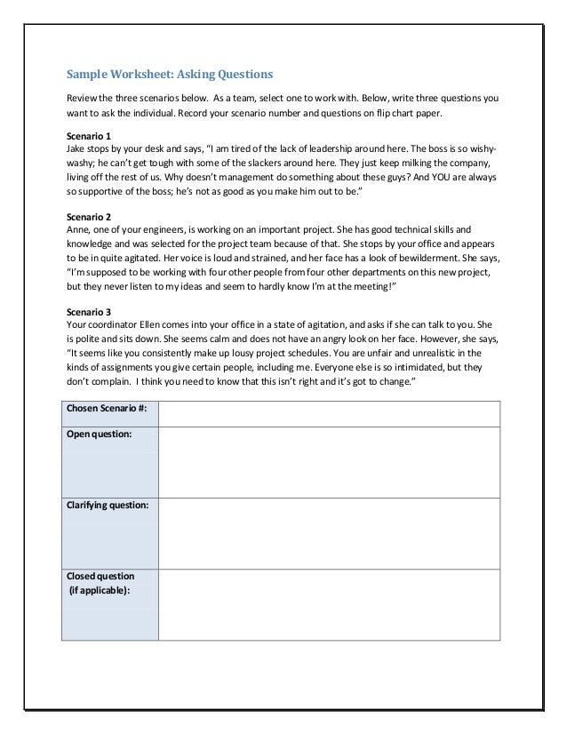 Assertiveness and selfconfidencesample – Assertiveness Training Worksheets