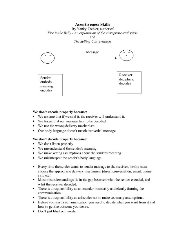 Assertiveness Skills                            By Yanky Fachler, author of          Fire in the Belly - An exploration of...