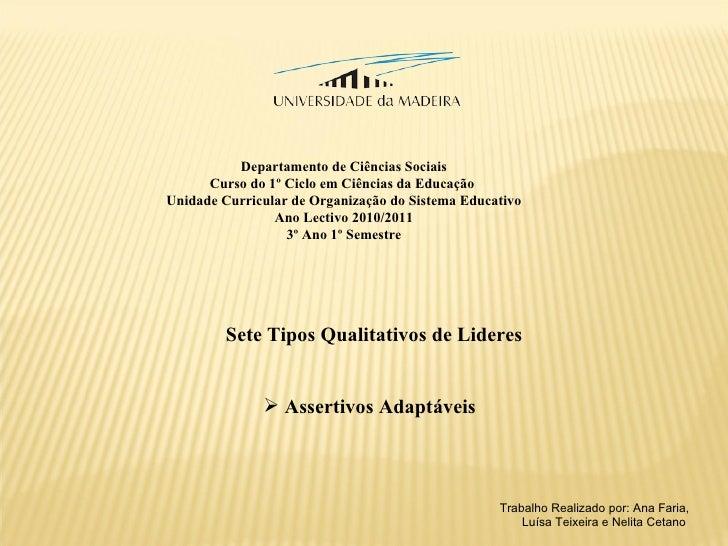 Departamento de Ciências Sociais Curso do 1º Ciclo em Ciências da Educação  Unidade Curricular de Organização do Sistema E...