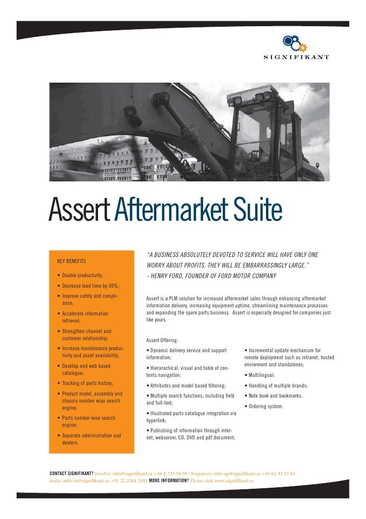 "Assert Aftermarket Suite                                             ""A BUSINESS ABSOLUTELY DEVOTED TO SERVICE WILL HAVE O..."