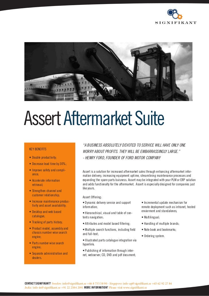 """Assert Aftermarket Suite                                             """"A business Absolutely devoted to service will hAve o..."""