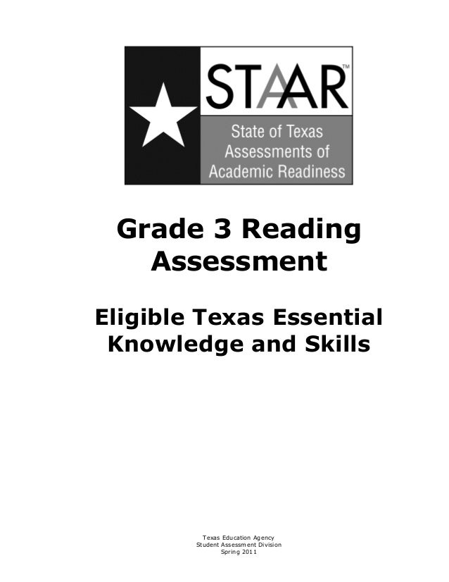 Grade 3 Reading    AssessmentEligible Texas Essential Knowledge and Skills          Texas Education Agency        Student ...