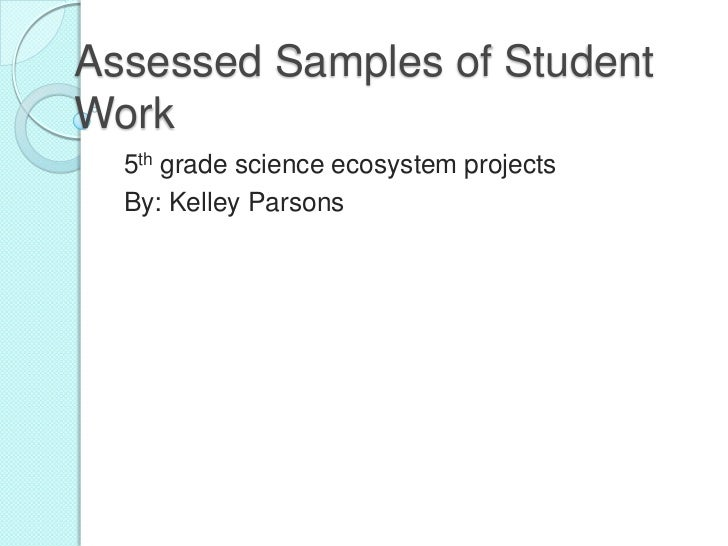 Assessed Samples of StudentWork  5th grade science ecosystem projects  By: Kelley Parsons