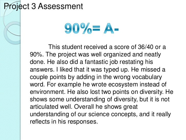 Project 3 Assessment              This student received a score of 36/40 or a      90%. The project was well organized and...