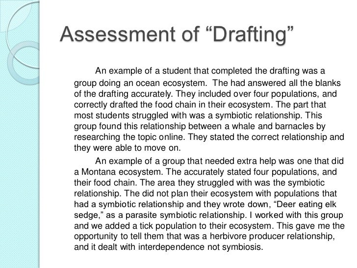 """Assessment of """"Drafting""""       An example of a student that completed the drafting was a group doing an ocean ecosystem. T..."""