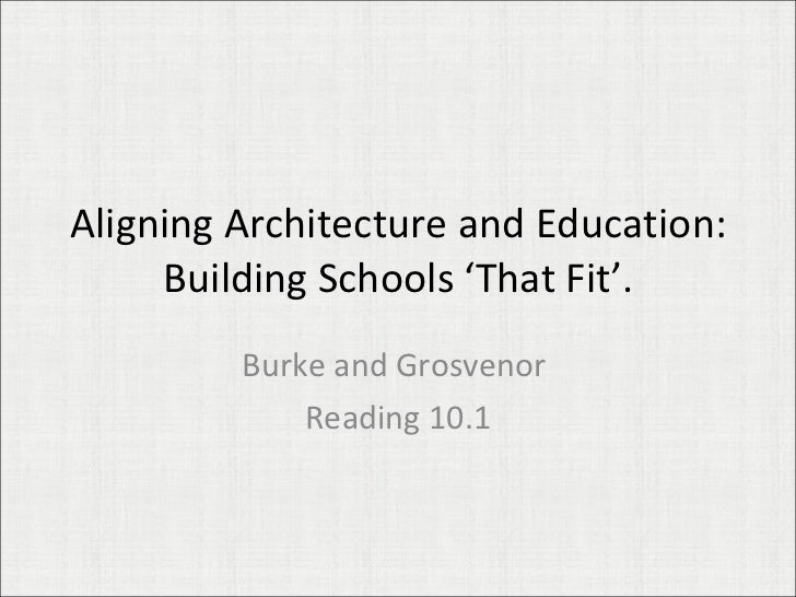 Aligning Architecture and Education: Building Schools 'That Fit'. Burke and Grosvenor  Reading 10.1