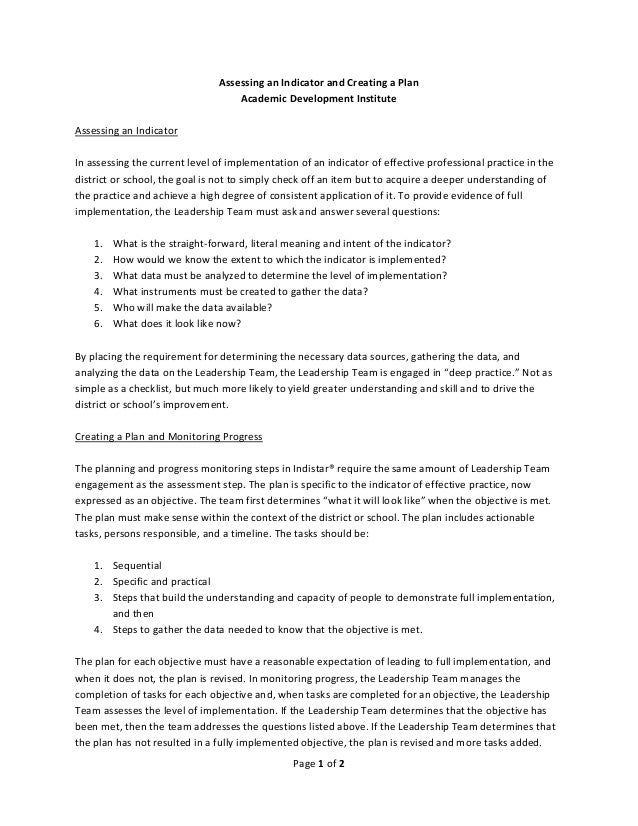 Page 1 of 2    Assessing an Indicator and Creating a Plan  Academic Development Institute    Assessing an Indicator    In ...