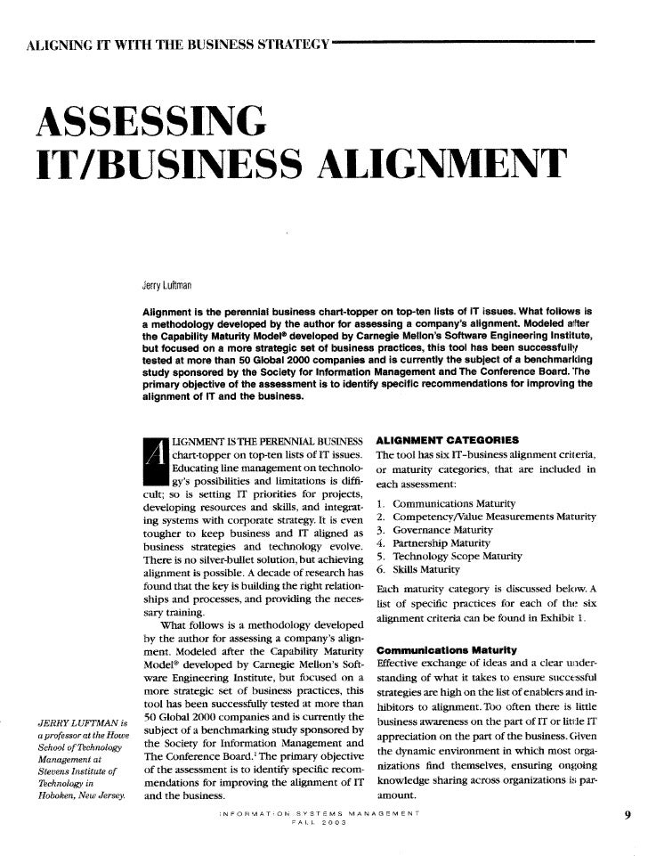 ALIGNING IT WITH TIE BUSINESS STRATEGY                                                                      7 ASSESSING IT...