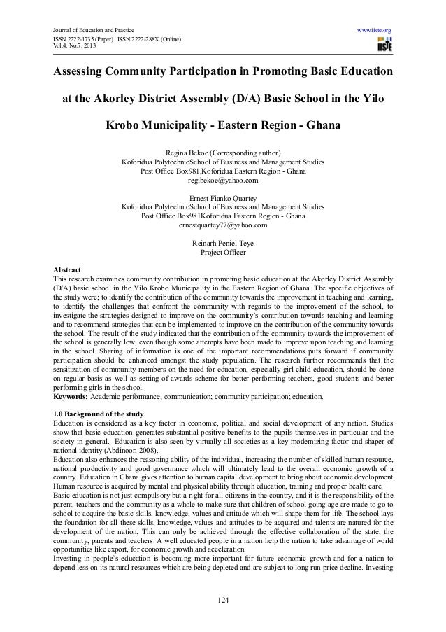 Journal of Education and Practice www.iiste.orgISSN 2222-1735 (Paper) ISSN 2222-288X (Online)Vol.4, No.7, 2013124Assessing...