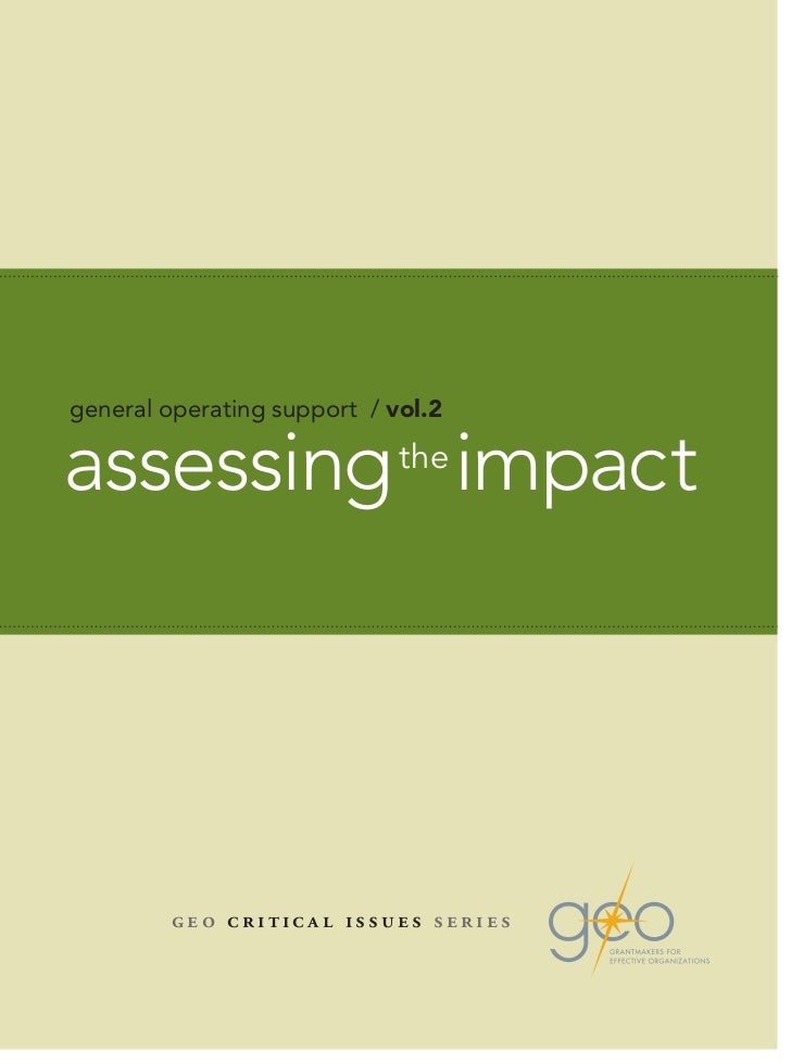 general operating support / vol.2assessing the impact         geo critical issues series