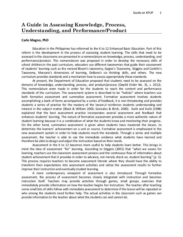 assessing knowledge process understanding performance product guide on kpup 1 a guide in assessing knowledge process understanding and performance
