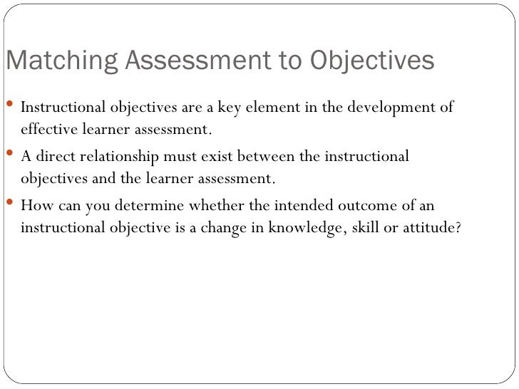 Assessing Learning In Instructional Design