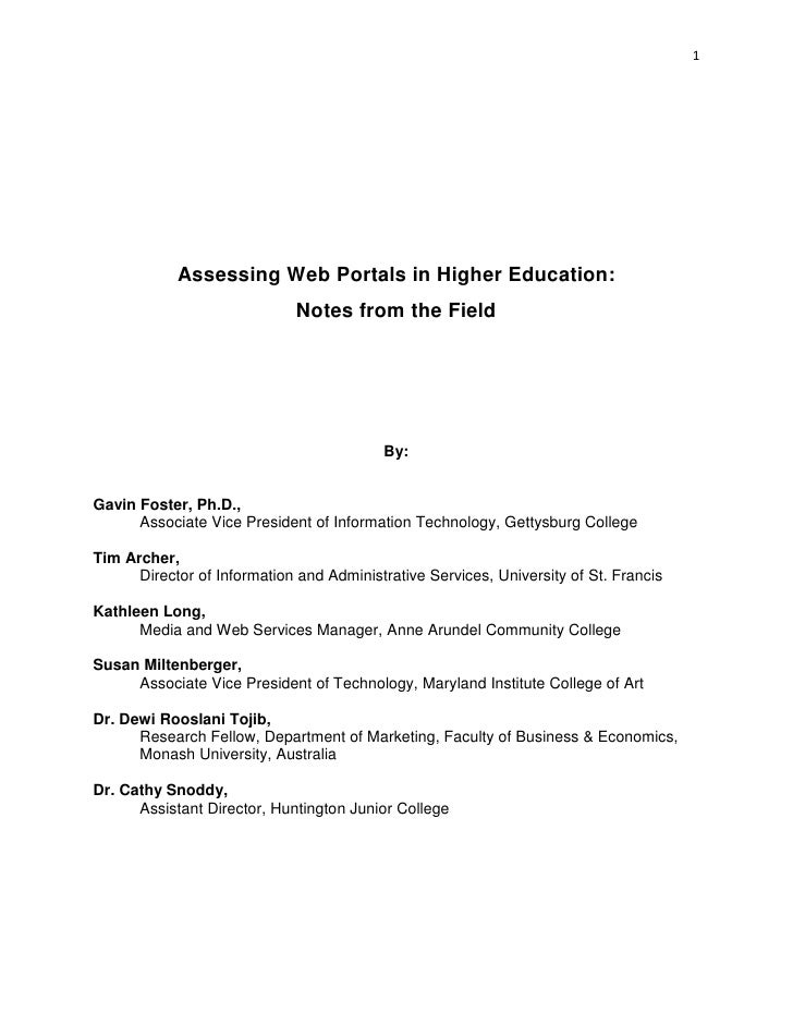 1            Assessing Web Portals in Higher Education:                             Notes from the Field                  ...