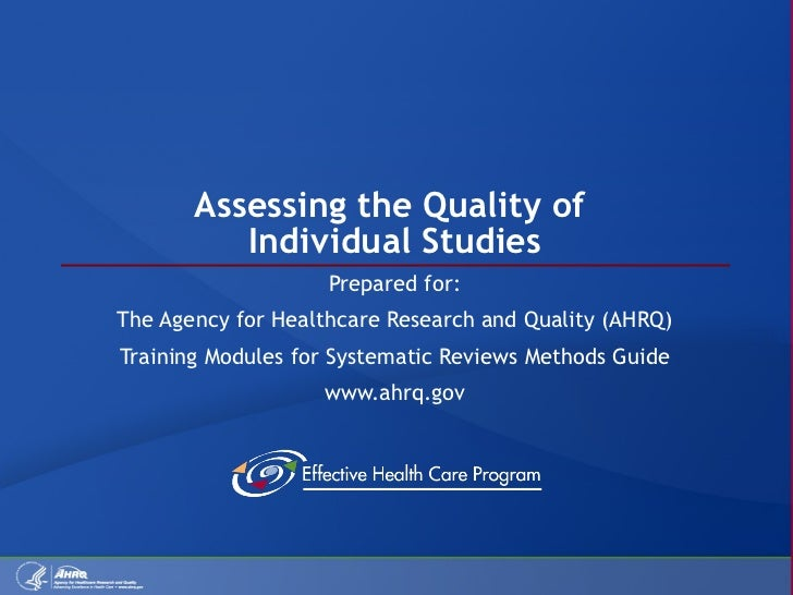 Assessing Quality of Individual Studies